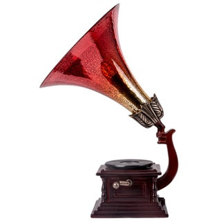 Mercury Glass Gramophone Accent Lamp with Playing Music Box