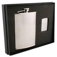 Visol Pixel Knit Stainless Steel Elite Flask & Zippo Lighter Gift Set - 8 ounces