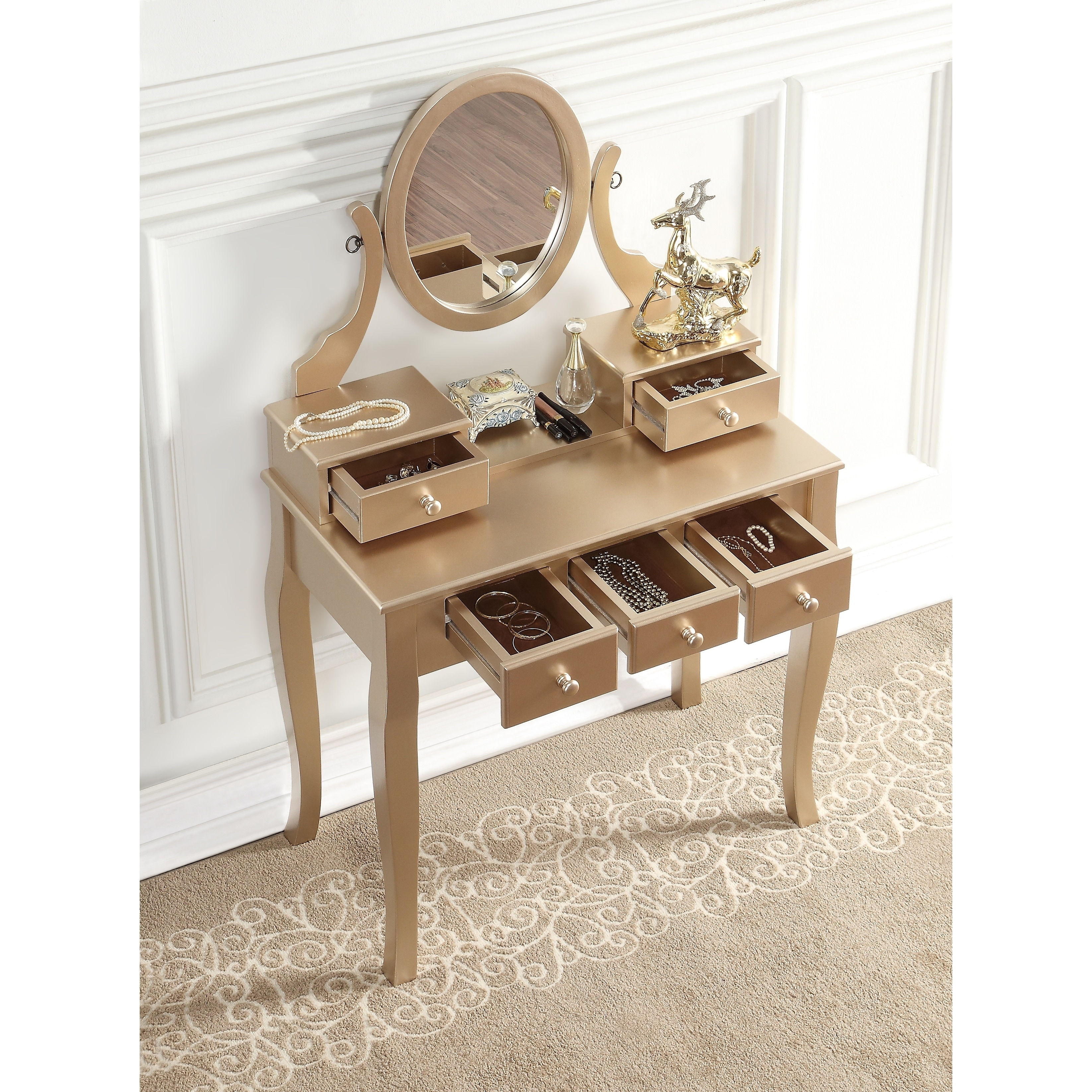 Maison-Rouge-Alice-Wood-Makeup-Vanity-Table-and-  sc 1 st  eBay & Maison Rouge Alice Wood Makeup Vanity Table and Stool Set | eBay