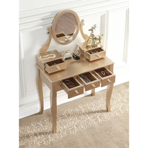 Ashley Wood Makeup Vanity Table And Stool Set Free Shipping Today Overstock.com  17882090