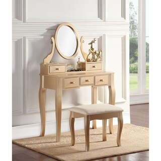 Maison Rouge Alice Wood Makeup Vanity Table and Stool Set (3 options available)