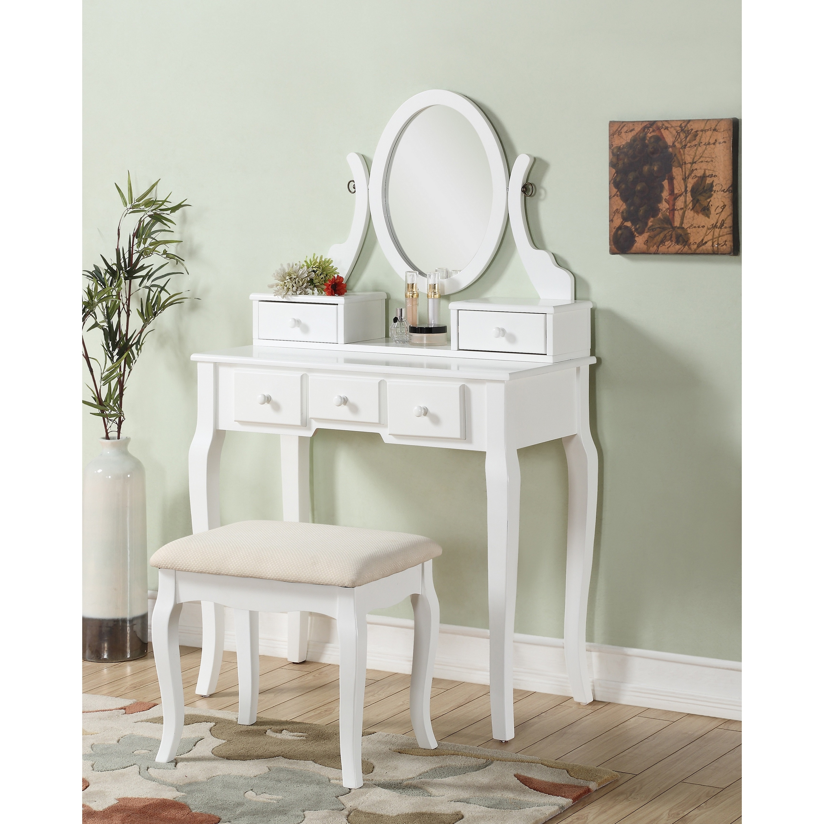 Ashley Wood Makeup Vanity Table and Stool Set (White - Wh...