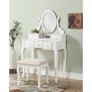 white and gold vanity table. Ashley Wood Makeup Vanity Table and Stool Set Gold  Bedroom Furniture For Less Overstock com
