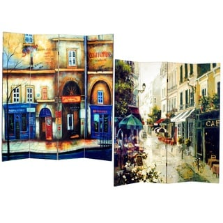 Street 4-Panel Double Sided Painted Canvas Room Divider Screen