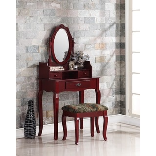 Ribbon Wood Cherry Makeup Vanity Table and Stool Set