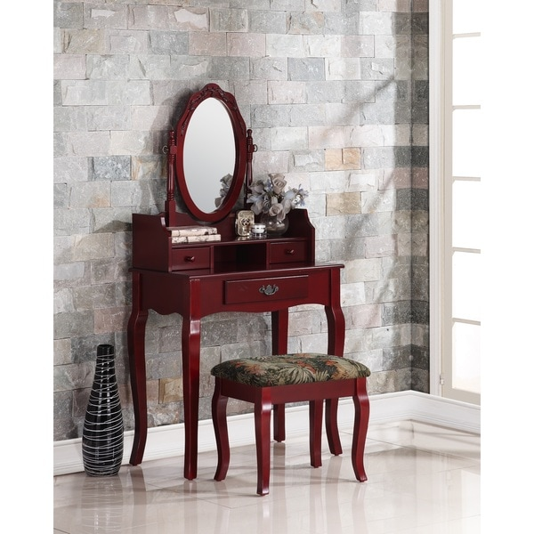 Ribbon Wood Cherry Makeup Vanity Table and Stool Set