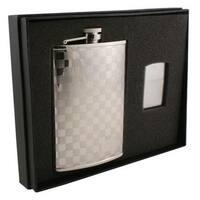 Visol Mate Checker Design Stainless Steel Elite Flask & Zippo Lighter Gift Set - 8 ounces
