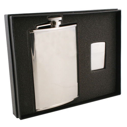 Visol Edge Satin Finish Stainless Steel Elite Flask & Zippo Lighter Gift Set - 8 ounces - Silver
