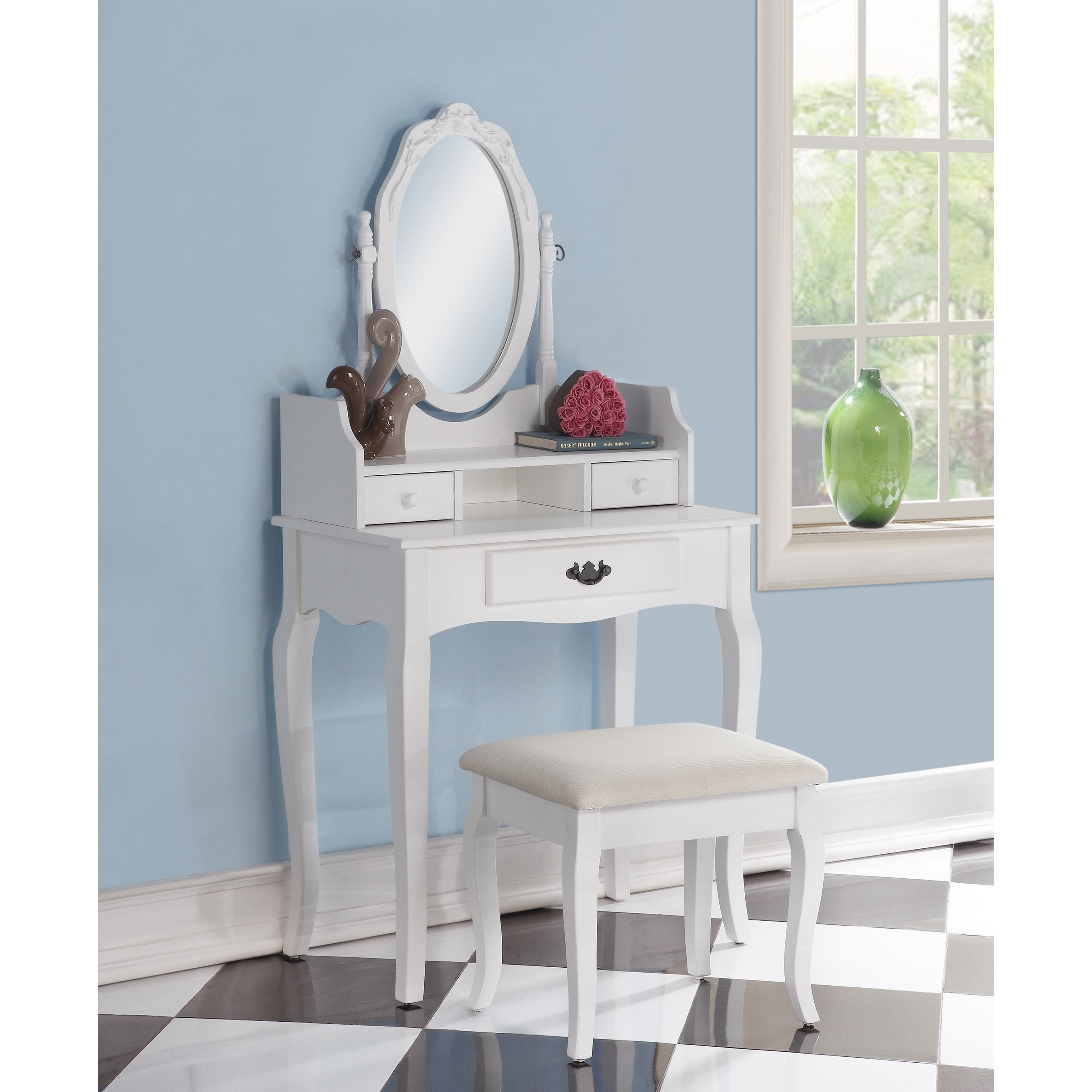 Ribbon Wood White Makeup Vanity Table and Stool Set (White)