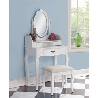 Ribbon Wood White Makeup Vanity Table and Stool Set