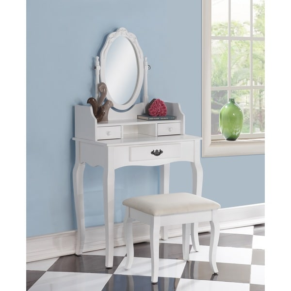 Ribbon Wood White Makeup Vanity Table And Stool Set Free Shipping Today O