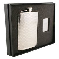 Visol Hive Beehive Pattern Stainless Steel Elite Flask & Zippo Lighter Gift Set - 8 ounces