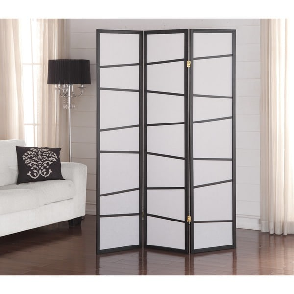 Shop Black 3 Panel Screen Room Divider Free Shipping Today