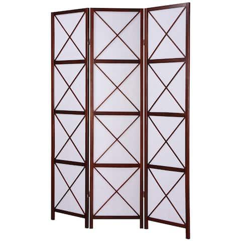 Walnut 3-Panel Screen Room Divider
