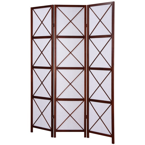 Shop Walnut 3 Panel Screen Room Divider Free Shipping Today