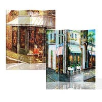Corner Store 4 Panels Double Sided Canvas Painting Room Divider Screen