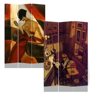 Night At Bar 3-panel Double Sided Canvas Painting Room Divider Screen