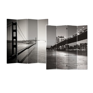 Bridge 4-Panel Double Sided Painted Canvas Room Divider