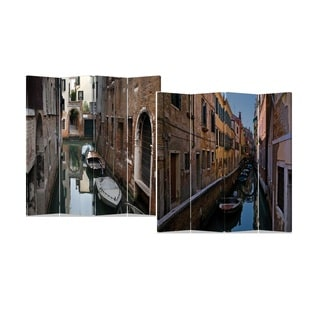 Venice Water street 4-Panel Double Sided Painted Canvas Room Divider Screen