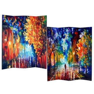 Night Street 4-Panel Double Sided Painted Canvas Room Divider Screen