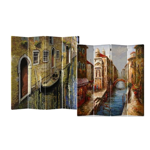 Venice Water Street 4-Panel Double Sided Painted Canvas Room Divider