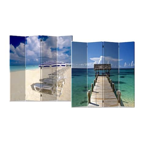 Caribbean Beach 4-Panel Double Sided Painted Canvas Room Divider