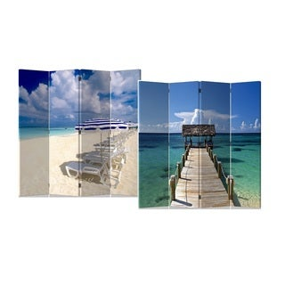Caribbean Sea and Beach 4-Panel Double Sided Painted Canvas Room Divider Screen
