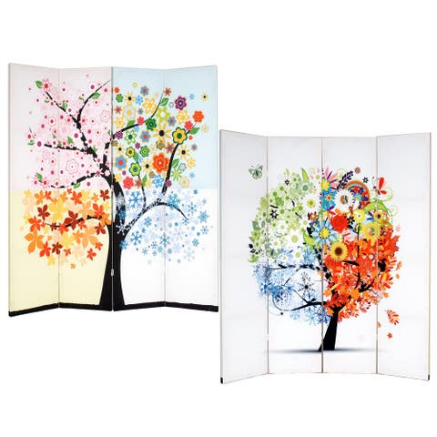Life Tree 4-Panel Double Sided Painted Canvas Room Divider