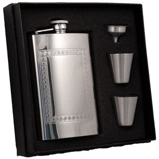 Visol Theseus Greek Design Stainless Steel Supreme II Flask Gift Set - 8 ounces
