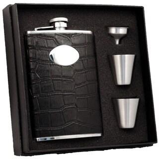 "Visol ""Noir"" Black Crocodile Leather 8oz Deluxe Flask Gift Set"