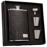 Visol Gator Black Textured Leather Supreme II Flask Gift Set - 8 ounces