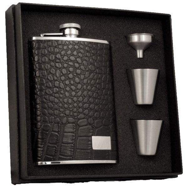 Visol Gator Black Textured Leather Supreme Ii Flask Gift Set 8 Ounces On Sale Overstock 10840840