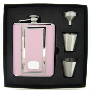Visol SP Pink Supreme Flask Gift Set With Built In Cigarette Case - 6 ounces