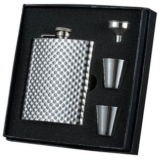 Visol Rhombus Stainless Steel Essential Flask, Funnel and 2 Shot Cups Gift Set