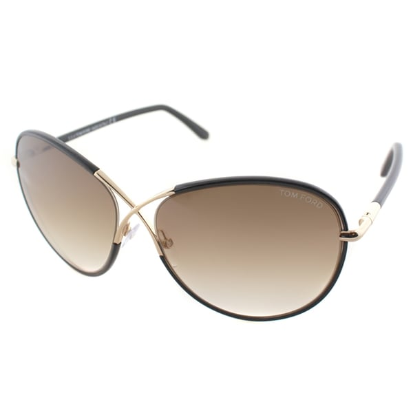 ea78137e2b2db Tom Ford Womens TF 344 Rosie 01B Shiny Black And Gold Metal Oversized  Butterfly Sunglasses