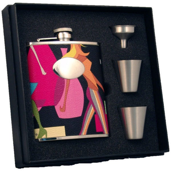 Visol Fashion Contemporary Supreme Flask Gift Set - 6 ounces - Silver