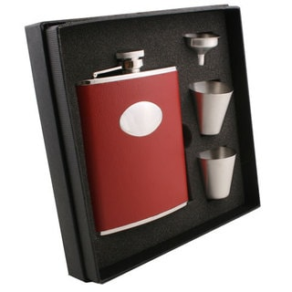 Visol Sienna Red Leather Supreme Flask Gift Set - 6 ounces