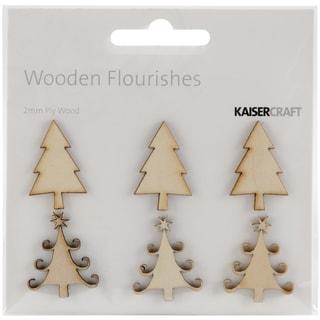 Wood Flourishes 6/Pkg-Mini Christmas Trees