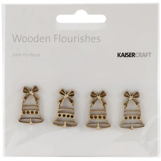Wood Flourishes 4/Pkg-Mini Bells