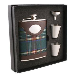 Visol Edinburgh Plaid & Leather Supreme Flask Gift Set - 6 ounces