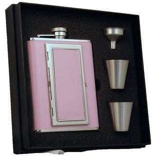 "Visol ""Fiona"" Pink 6oz Hip Flask with Built-In Cigarette Case Deluxe Flask Gift Set"