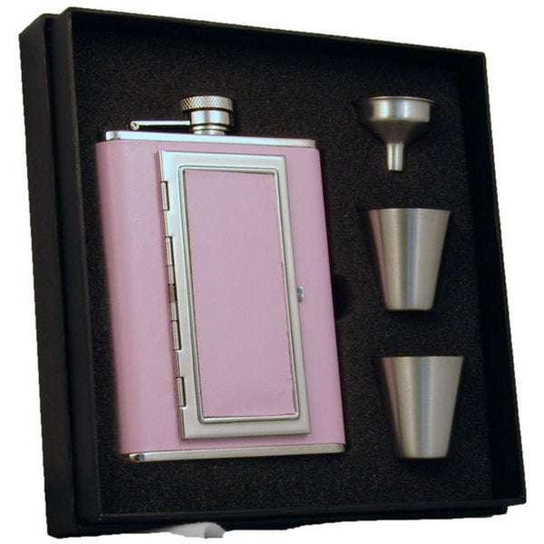 "Visol ""Fiona"" Pink 6oz Hip Flask with Built-In Cigarette Case Deluxe Flask Gift Set - Pink/Silver"