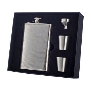 "Visol ""Pixel"" Stainless Steel 8oz Deluxe Flask Gift Set"