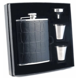 Visol Beau Monde Black Crocodile Leather Supreme Flask Gift Set - 6 ounces