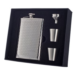 "Visol ""Hive"" Beehive Pattern 8oz Deluxe Flask Gift Set"