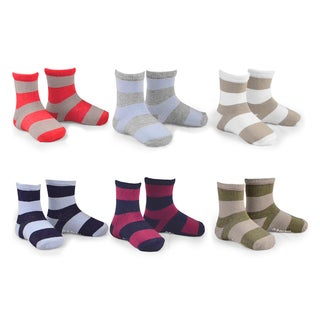 Naartjie Kids Boys Cotton Short Crew Socks Rugby Stripe 6 Pairs Pack