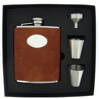Visol Cowboy Brown Leather Supreme Flask Gift Set - 6 ounces