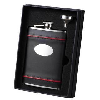 Visol Rouge en Noir Black Leather Essential II Liquor Flask Gift Set - 8 ounces