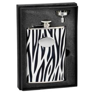 Visol Zebra Black & White Leather Essential II Flask Gift Set - 8 ounces