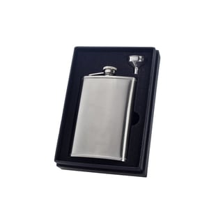 Visol Edge Satin Finish Stainless Steel Essential II Flask Gift Set - 8 ounces
